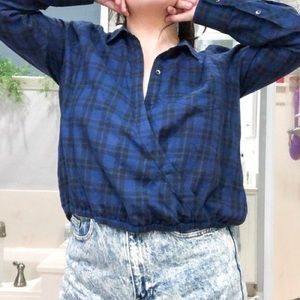 Madewell Plaid Button Down Wrap Front Shirt Small
